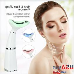 LED Facial Neck Sonic Lifting Massager Photon Therapy Wrinkl
